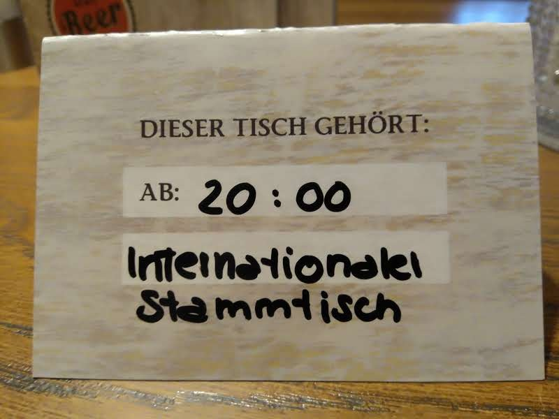 Reservation for the international 'Stammtisch'