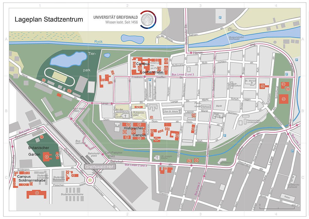 Greifswald Karte.Lagepläne Universität Greifswald